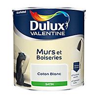 Peinture murs et boiseries Dulux Valentine coton blanc satin 2,5L