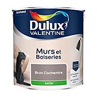 Peinture murs et boiseries Dulux Valentine brun cachemire satin 2,5L