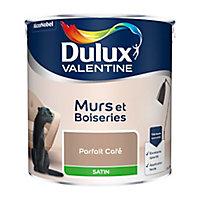 Peinture murs et boiseries Dulux Valentine parfait café satin 2,5L