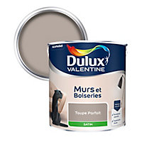 Peinture murs et boiseries Dulux Valentine taupe parfait satin 2,5L