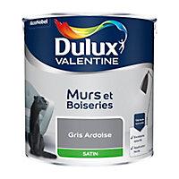 Peinture murs et boiseries Dulux Valentine gris ardoise satin 2,5L