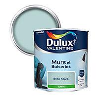 Peinture murs et boiseries Dulux Valentine bleu aqua satin 2,5L
