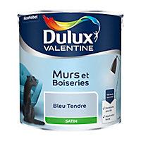 Peinture murs et boiseries Dulux Valentine bleu tendre satin 2,5L