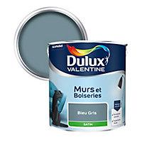 Peinture murs et boiseries Dulux Valentine bleu gris satin 2,5L