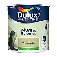 Peinture murs et boiseries Dulux Valentine thé macha satin 2,5L