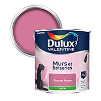 Peinture murs et boiseries Dulux Valentine sorbet rose satin 2,5L