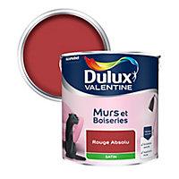 Peinture murs et boiseries Dulux Valentine rouge absolu satin 2,5L