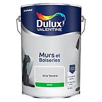 Peinture murs et boiseries Dulux Valentine gris tendre satin 5L