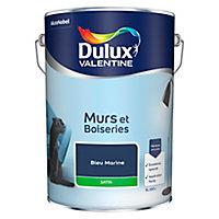 Peinture murs et boiseries Dulux Valentine bleu marine satin 5L