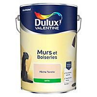 Peinture murs et boiseries Dulux Valentine pêche tendre satin 5L