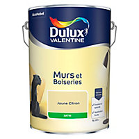 Peinture murs et boiseries Dulux Valentine jaune citron satin 5L