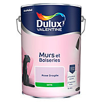 Peinture murs et boiseries Dulux Valentine rose dragée satin 5L