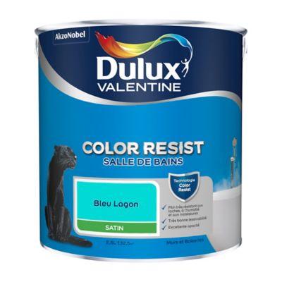 Peinture salle de bain Dulux Valentine bleu lagon satin 2,5L | Castorama