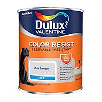Peinture murs et boiseries Dulux Valentine Color Resist gris tendre mat 0,75L