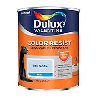 Peinture murs et boiseries Dulux Valentine Color Resist bleu tendre mat 0,75L