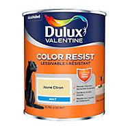 Peinture murs et boiseries Dulux Valentine Color Resist jaune citron mat 0,75L