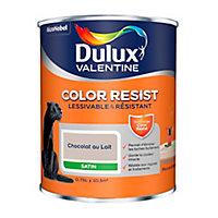 Peinture murs et boiseries Dulux Valentine Color Resist chocolat au lait satin 0,75L