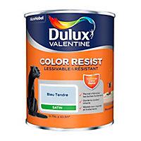 Peinture murs et boiseries Dulux Valentine Color Resist bleu tendre satin 0,75L