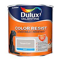 Peinture murs et boiseries Dulux Valentine Color Resist taupe clair mat 2,5L