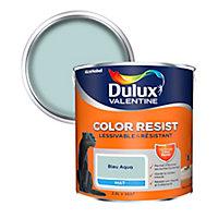 Peinture murs et boiseries Dulux Valentine Color Resist bleu aqua mat 2,5L