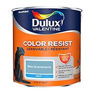 Peinture murs et boiseries Dulux Valentine Color Resist bleu scandinave mat 2,5L