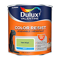 Peinture murs et boiseries Dulux Valentine Color Resist vert kiwi mat 2,5L