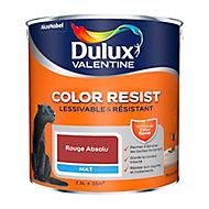 Peinture murs et boiseries Dulux Valentine Color Resist rouge absolu mat 2,5L
