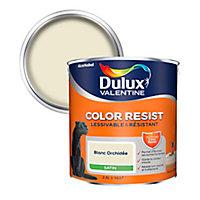 Peinture murs et boiseries Dulux Valentine Color Resist blanc orchidée satin 2,5L