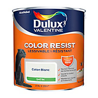 Peinture murs et boiseries Dulux Valentine Color Resist coton blanc satin 2,5L