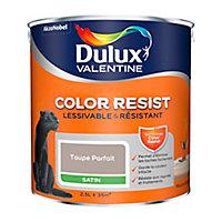 Peinture murs et boiseries Dulux Valentine Color Resist taupe parfait satin 2,5L