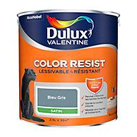 Peinture murs et boiseries Dulux Valentine Color Resist bleu gris satin 2,5L
