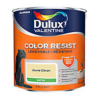 Peinture murs et boiseries Dulux Valentine Color Resist jaune citron satin 2,5L