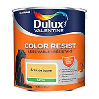 Peinture murs et boiseries Dulux Valentine Color Resist éclat de jaune satin 2,5L