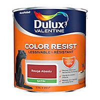 Peinture murs et boiseries Dulux Valentine Color Resist rouge absolu satin 2,5L