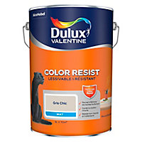 Peinture murs et boiseries Dulux Valentine Color Resist gris chic mat 5L