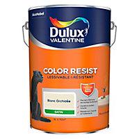 Peinture murs et boiseries Dulux Valentine Color Resist blanc orchidée satin 5L