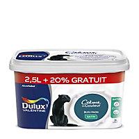 Peinture murs et boiseries Dulux Valentine Crème de couleur bleu paon satin 2,5L + 20%