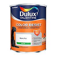Peinture murs et boiseries Dulux Valentine Color Resist Satin blanc 0.75L