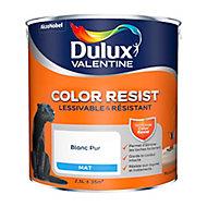 Peinture murs et boiseries Dulux Valentine Color resist Blanc pur 2,5L