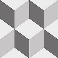 Adhésif Draeger la carterie cube effet 3D gris 15 x 15 cm