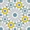 Adhésif Draeger la carterie azulejos bleu et ocre 15 x 15 cm