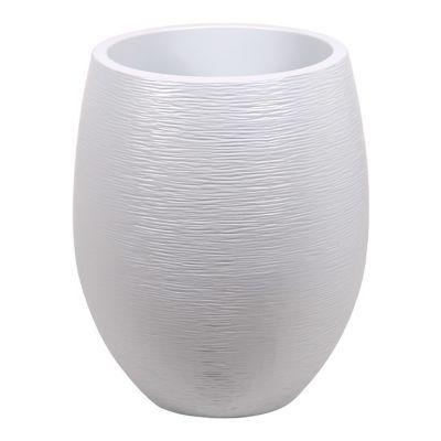 Pot ovale polypropylène Eda Egg graphit blanc cérusé 50 x 50 x h.60 cm
