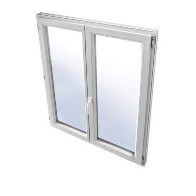 Fenêtre pvc 2 vantaux à la française tirant droit GROSFILLEX blanc - 100 x h.115 cm