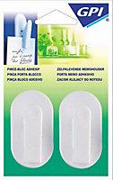 Crochet pince-Multiprise GPI adhésif blanc