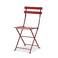 Chaise de jardin en métal Bistro rouge piment pliante Fermob