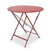 Table de jardin en métal Bistro rouge piment pliante ø77 cm Fermob