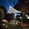 Voile d'ombrage triangle Morel taupe 360 cm avec LEDs solaires