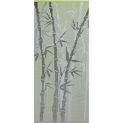 Rideau de porte en bambou 90 x 200 cm. Caractéristiques techniques de ce rideau de porte : - Nombre de bandes : 65 - Matière : Bâtonnets de bambou naturel montés sur crochets métalliques. Coloris / Finition : Motif peint. Dimensions : l.90 x H.200 cm.