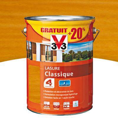 Lasure Bois Extérieurs V33 Classique Chêne Clair Satin 5L + 20% Gratuit |  Castorama