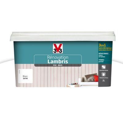 Peinture De Rénovation Lambris V33 Blanc Satin 2l Castorama